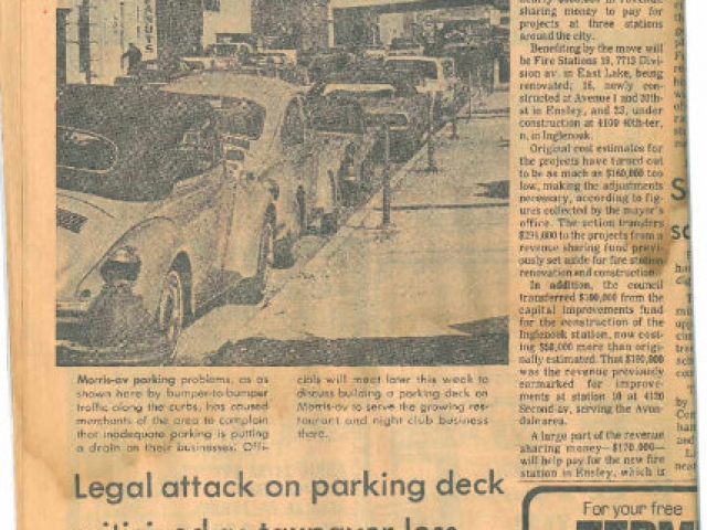 Photo of news paper clipping of cars parked on Morris Avenue.